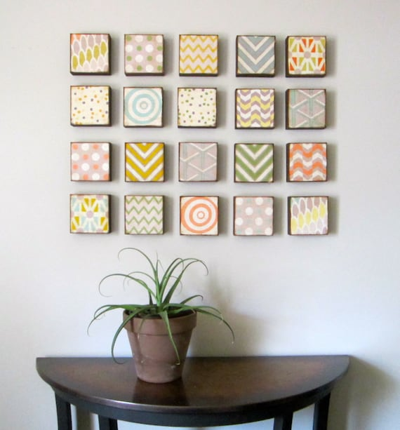 nursery wall art-twenty set-5x5 customizable art blocks- kid room wall decor- geometric nursery art-redtilestudio