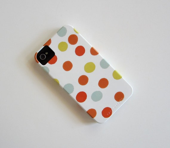 SALE Polka Dot iPhone 4/4s case Pattern Geometric Circles Red Yellow Blue Orange redtilestudio