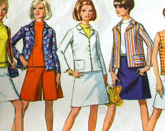 Vintage 1960s Mod Jacket Blouse Skirt and Pantskirt Sewing Pattern Simplicity