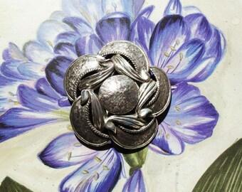Vintage Signed Tortolani Silver Art Deco Design Floral Brooch