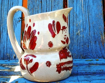 Vintage California Cleminsons Pitcher Galagray Pattern Berry Red and Oatmeal Pennsylvania Dutch Floral