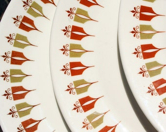 Vintage Avocado Green Harvest Brown Copper Fleur de Lis Restaurant Ware Plate Trio Captain's Table Pattern