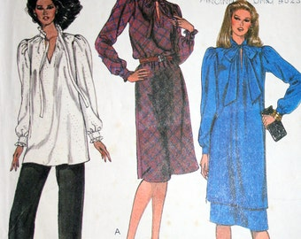 Vintage 80s Dress or Tunic Skirt and Pants Sewing Pattern McCalls 7754 Sizes 8 10 12