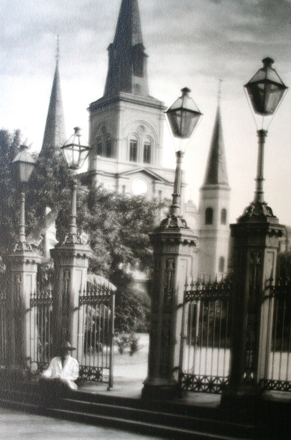 ON SALE Signed New Orleans Cathedral Framed Photograph Listed Artist Eugene Delcroix 1891-1967