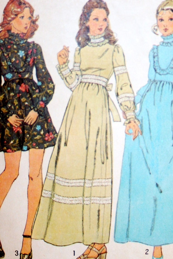 Vintage 70s Dress Sewing Pattern Simplicity 5956 Two Lengths