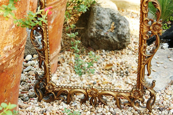 Vintage Rococo Wall Mirror Turner Wall Accessory Gilded Sunflowers