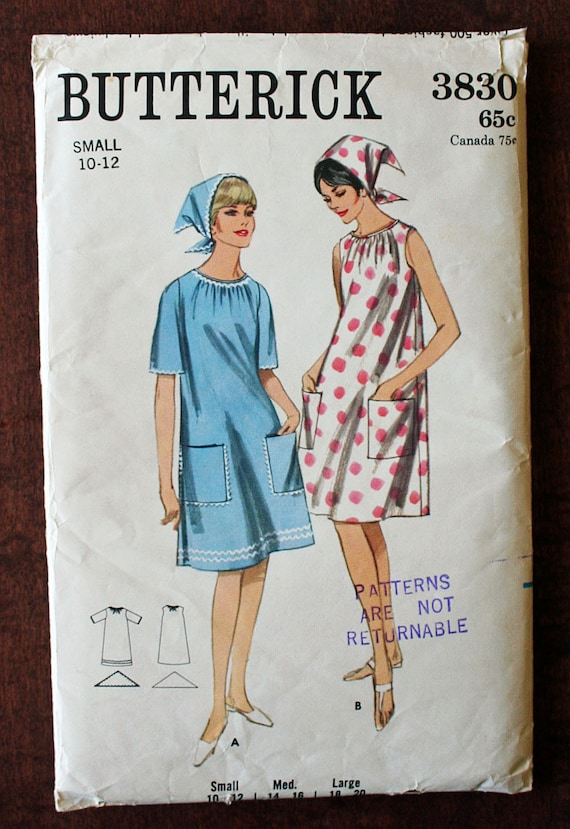 Vintage A-Line Smock and Handkerchief Sewing Pattern Butterick 3830 Size Small 10 12