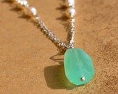 Chalcedony and Pearl Necklace with free Matching Earrings