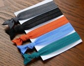 Elastic Hair Ties: TRENDY Fall Fashion Collection - Gentle Hairties for Ponytails & Wrists in Gun Metal, Black, Orange, Blue, Peacock