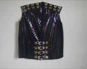Black Sequin Military Star Vest