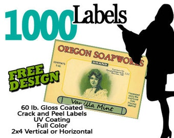 1000 Full Color Label Stickers with FREE DESIGN  2x4