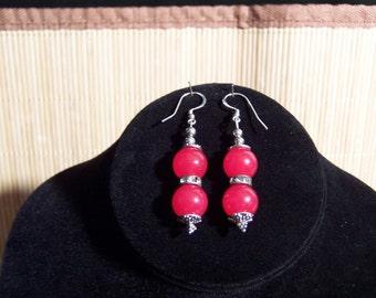 Red Quartz and Swarovski jeweled Earrings