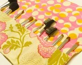 Makeup Brush Roll Holder  - Amy Butler Midwest Modern Fresh Poppies Fuschia - Ready to Ship