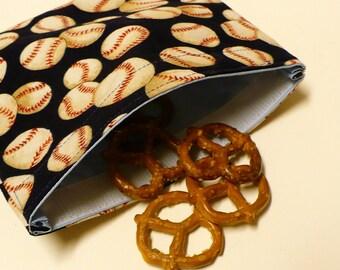 Reusable Snack Bag - Baseballs - Ready to Ship