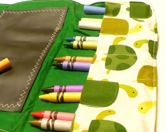 Activity Wallet - holds crayons, chalk, pencils and more -  Urban Zoologie Turtles Grass
