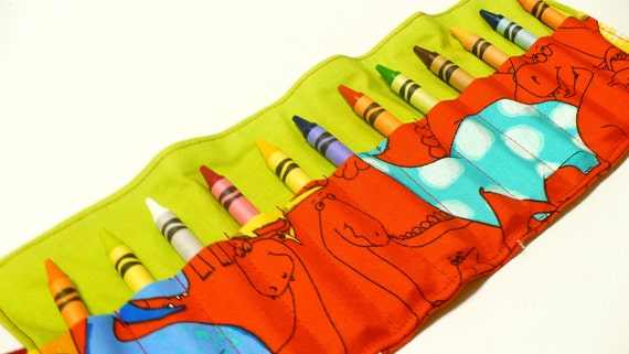 Crayon Roll / Crayon Caddy - 12 Crayons Included - Michael Miller Red Dinosaurs- Ready to Ship