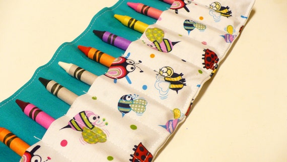 Crayon Roll - 12 Crayons Included - Cute Little Bugs W/ Blue Background- Ready to Ship