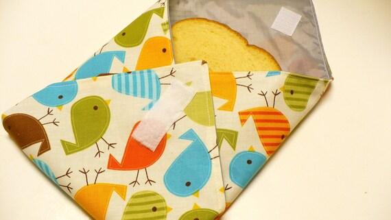 Reusable Sandwich Bag Wrap - Urban Zoologie Birds Bermuda -  Ready To Ship