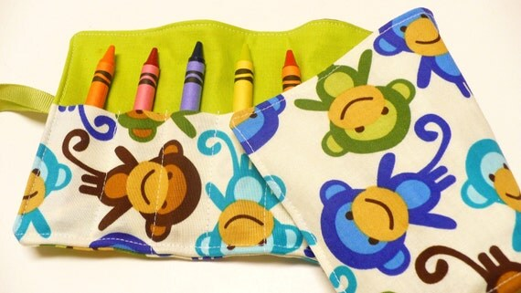 Crayon Roll - 12 Crayons Included - Urban Zoologie Monkeys Royal- Ready to Ship