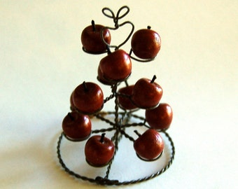 Miniature Wire Wooden Apple Display