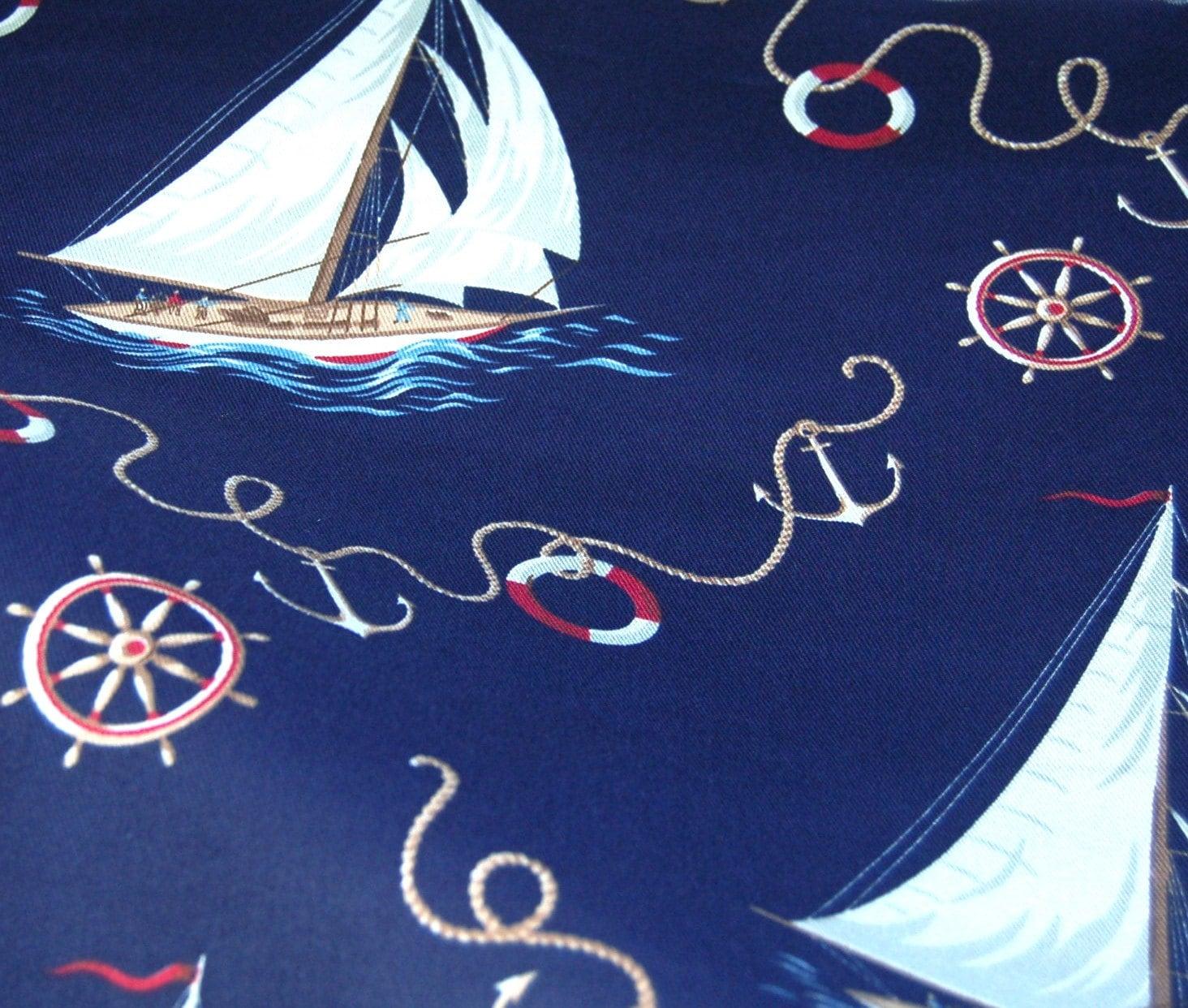 Ralph Lauren Navy Sailboat Nautical Upholstery Fabric Over 1