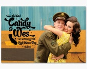 Vintage Save The Date Sweetcandy Wedding Card or Magnet
