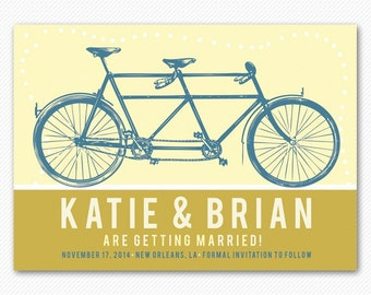 Save The Date Modern Tandem Bicycle Card or Magnet