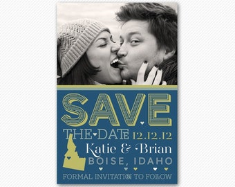 Save The Date Bright Modern Wedding Card or Magnet