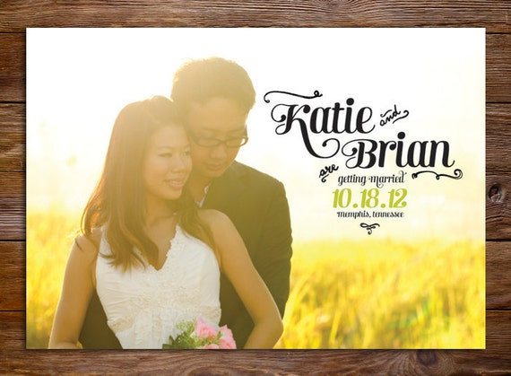 Modern Save The Date Magnet or Card - Sunflower Wedding