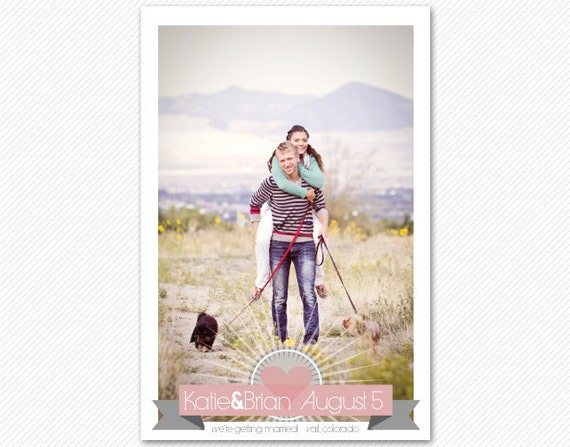 Photo Save The Date Postcard or Magnet - Heart Banner