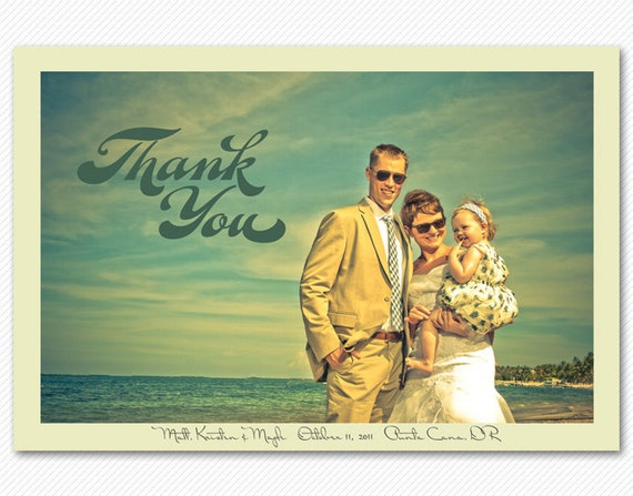 Wedding Thank You Card or Magnet - Modern Script