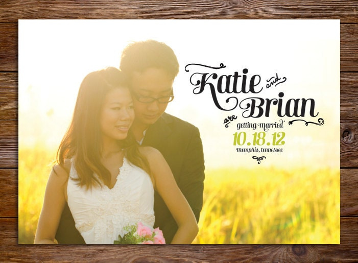 Modern Save The Date Magnet or Card Sunflower Wedding