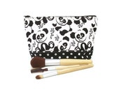Panda cosmetic bag. Crafts or makeup storage. Cute pandas and polka dots. Black and white
