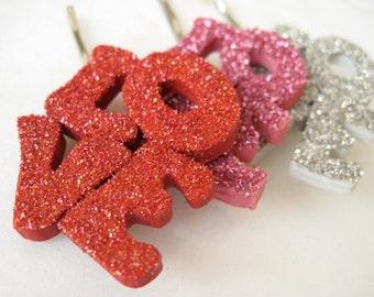 """Glitter """"Love"""" Hair Pin"""