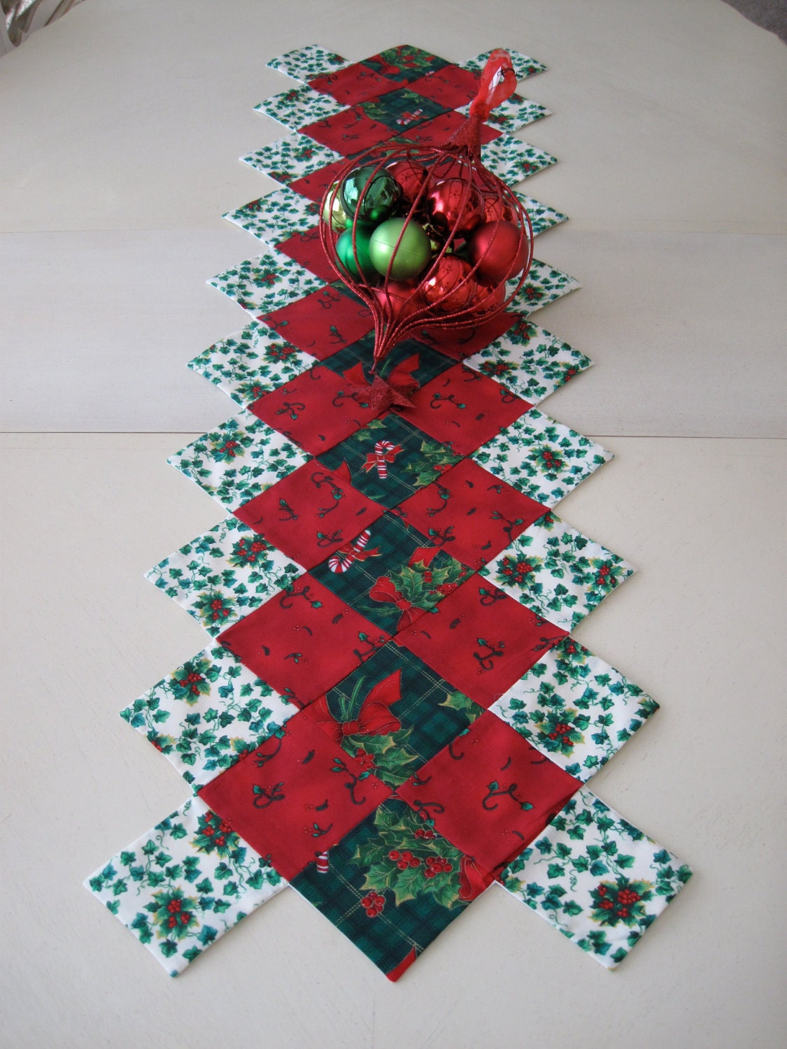 Red And Green Christmas Table Runner