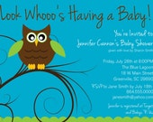 Printable Baby Shower Invitation, Owl boy or girl gender neutral turquoise, tree branch DIY digital file