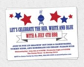 July 4th BBQ Barbecue Barbeque Independence Day, Red, White and Blue Invitation, Printable DIY digital file Modern, Retro