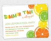 Citrus Invitation, Summer, Pool Party, Lemon, Lime, Orange, Birthday, BYOB,  Printable  DIY digital file