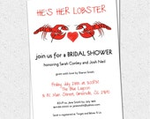 Bridal Couples Shower, Wedding Invitations Printable, Lobster Couple, Boil, Bake, Friends TV show Fans, Ross and Rachel,  DIY Digital File
