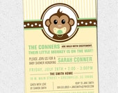 Little Monkey Baby Shower Invitation Printable, Modern, Preppy, Gender Neutral Boy Girl Yellow and Green, DIY Digital File