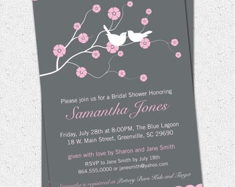 Printable Bridal Shower Invitation Cherry Blossom, Love Birds, Pink, Charcoal Grey Gray Personalized DIY Digital File