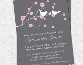 Printable Baby Shower Invitation Cherry Blossom, Birds, Girl, Pink, Charcoal Grey Gray Personalized DIY Digital File