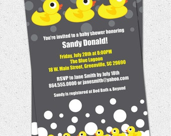 Baby Shower Invitation Printable, Rubber Duck Ducky Duckie Gender Neutral Boy or Girl Yellow and Charcoal Grey Modern, DIY Digital File