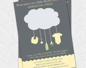 Printable Rain Cloud Baby Shower Invitation, Gender Neutral Green, Yellow and Grey DIY Digital File