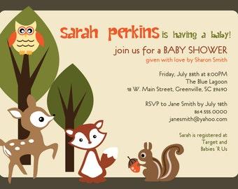 Printable Baby Shower Invitation, Woodland Animals Creatures Forest, Custom Unisex Deer, Owl, Squirrel, Fox, DIY digital tan