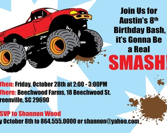 Monster Truck  Invitation Boy Child's Birthday Party, Printable DIY Digital File