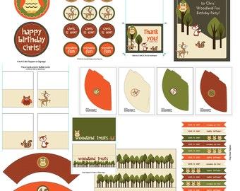 CUSTOM Woodland Birthday Party Package Invitation Printable, Friends, Creatures, Animals, Owl, Fox, Deer, Squirrel, Digital Files