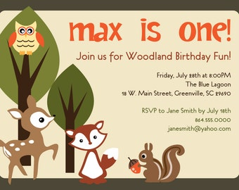 Printable Woodland  Birthday Invitation, Animals Creatures Friends Forest, Deer, Owl, Squirrel, Fox, Printable or Printed