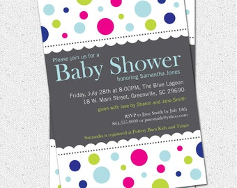 Baby Shower Invitation, Printable, Mod Dots, Boy or Girl Gender Neutral, Rainbow, Colorful Polka-Dots,  Modern DIY Digital File