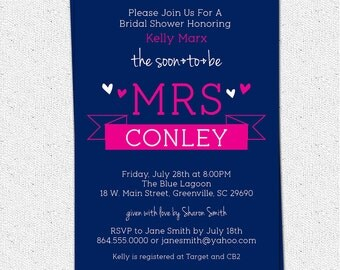 Printable Bridal Shower Invitation Soon to be MRS Sweet Banner Pick Your Color, Custom, Personalized DIY Digital File